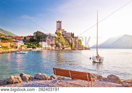 Town Of Malcesine Castle And Beach View, Veneto Region Of Italy, Lago Di Garda