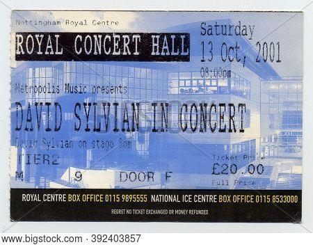 David Sylvian Concert Ticket From October 2001, Nottingham, Uk