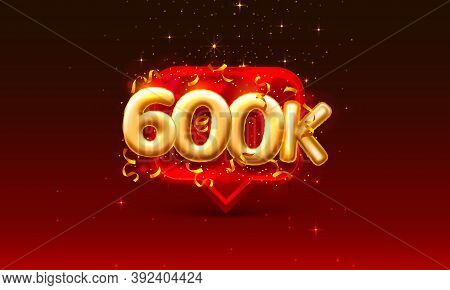 Thank You Followers Peoples, 600k Online Social Group, Happy Banner Celebrate, Vector