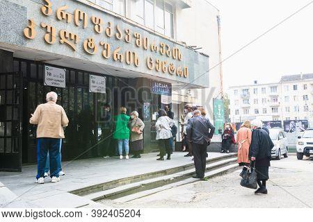 Tbilisi, Republic Of Georgia- 31 October,2020.georgian Parliament Elections. Citizens Are Waiting In