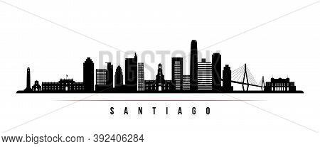 Santiago Skyline Horizontal Banner. Black And White Silhouette Of Santiago City, Chile. Vector Templ