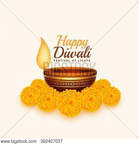 Happy Diwali Card With Diya And Marigold Flower