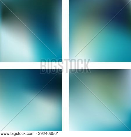 Set With Blue Abstract Blurred Backgrounds. Vector Illustration. Modern Geometrical Backdrop. Abstra