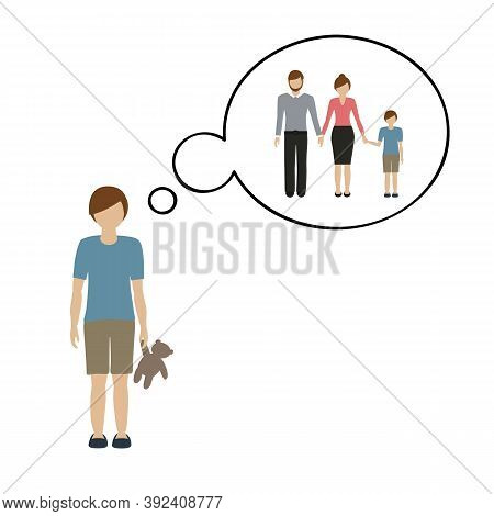 Orphan Boy Is Thinking About His Parents Vector Illustration Eps10