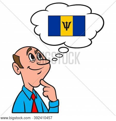 Thinking About A Trip To Barbados - A Cartoon Illustration Of A Man Thinking About A Trip To Barbado