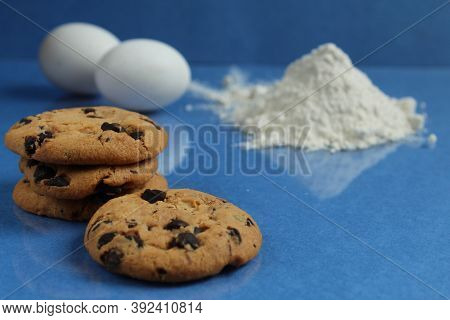Kitchen Cooking Process Homemade Chocolate Cookies With Chocolate Drops In The Background Flour And