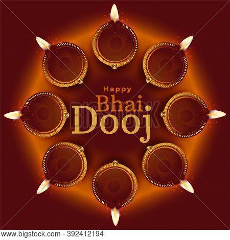 Happy Bhai Dooj Traditional Diya Decoration Background Vector
