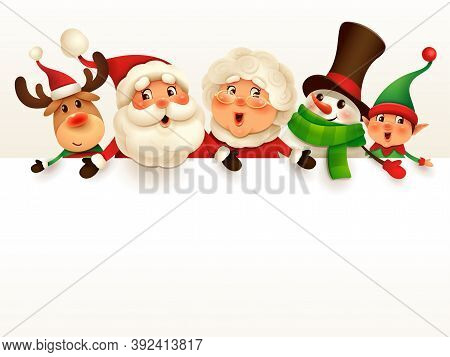 Christmas Companions With Big Blank Signboard. Wide Empty Space For Design. Santa Claus, Mrs Claus,