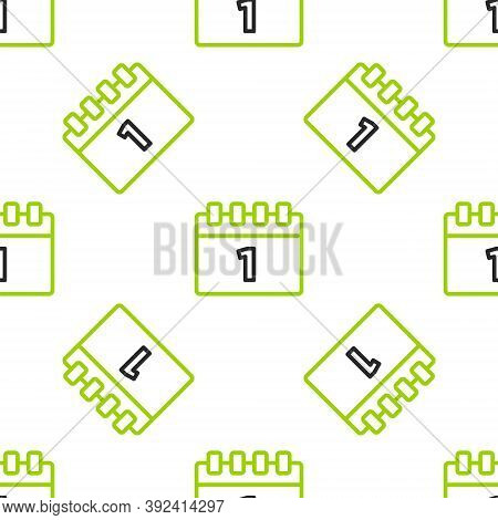 Line Calendar With First September Date Icon Isolated Seamless Pattern On White Background. Septembe