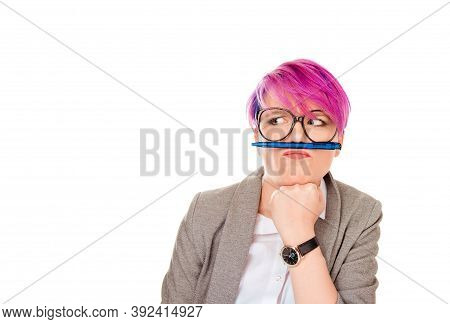 Adhd. Annoyed Woman Funny Student Corporate Employee Playing Holding Pen Between Nose And Lips As Mu