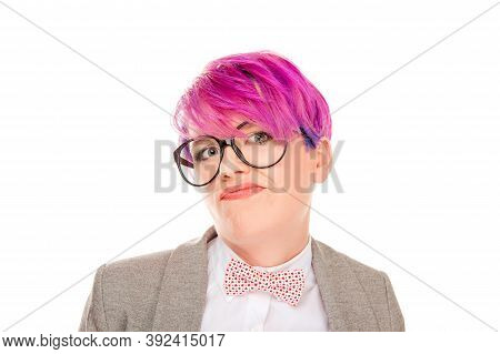 Funny Skeptical Closeup Portrait Doubtful Grumpy Annoyed Young Businesswoman Employee Customer Havin