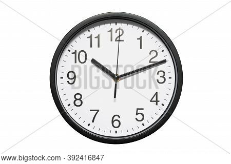 Black Office Wall Clock With White Dial On White Background. Black Office Wall Clock Isolated On Whi