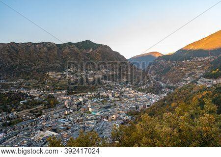 Andorra La Vella, Andorra : 2020 October 30 : Cityscape On The Sunset In Andorra La Vella,  Capital