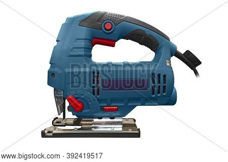 Professional Electric Jig Saw Isolated On White Background. A Jigsaw Power Tool Isolated On White Ba