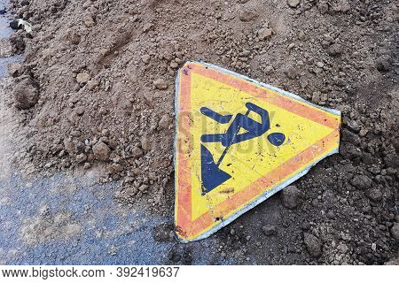 Road Work Sign Under Construction.caution Symbol.yellow Triangle Safety Sign Warns About Roadworks.