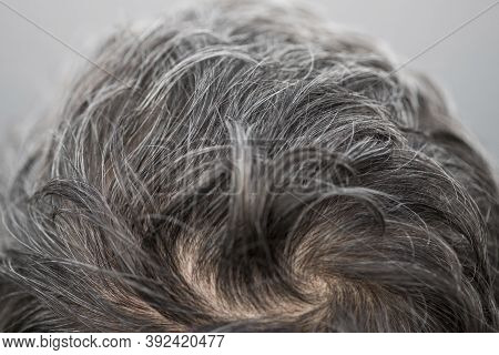 The Head Of A Man With A Hairstyle With Gray Hair. Gray Hair Adult