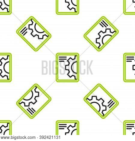Line Software, Web Development, Programming Concept Icon Isolated Seamless Pattern On White Backgrou