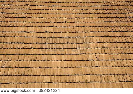 Several Wood Cedar Shingles For Siding Or Roofs. Brown Wood Roof Shingles