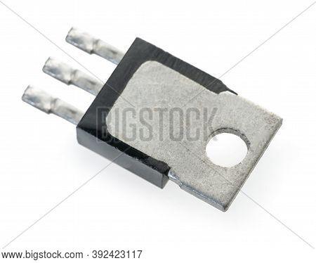 Radio Part Transistor Closeup On White Isolated Background