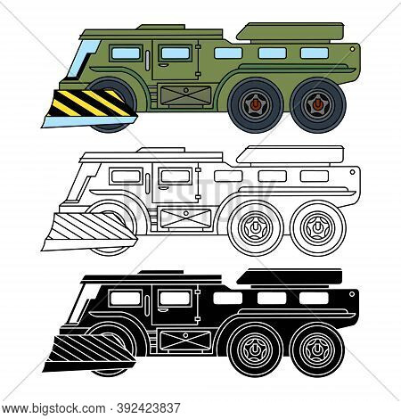 Infantry Fighting Vehicle, All-terrain Vehicle, Linear, Color And Silhouette Icons. Vector Illustrat