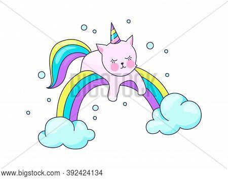 Cute Cat Unicorn. Cartoon Kitten With Horn Lies On Rainbow. Pretty Pet Recreation On Cloud, Sleeping