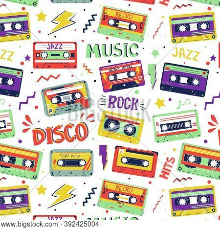 Cassette Pattern. 90s, 80s And 70s Retro Music Seamless Texture. Pop Art Graphic Template. Old Sound