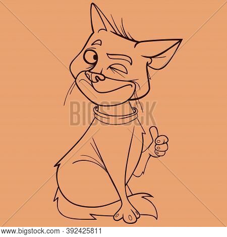 Sketch Of Cartoon Cat That Winks And Shows Thumbs Up