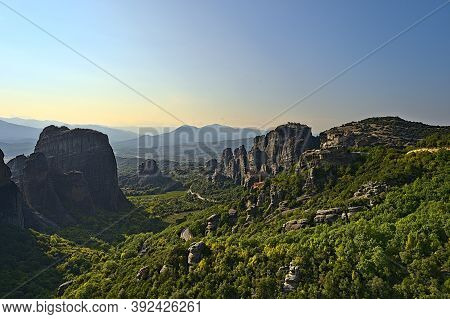 Monastery Of Varlaam, Holy Monastery Of Saint Nicholas, Monastery Of Rousanou And Megalo Meteoro On