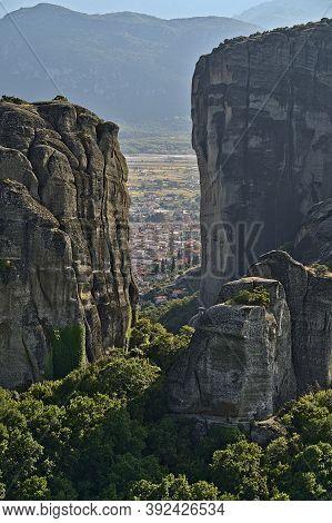 View On The City Of Kalambaka At The Meteora Monasteries