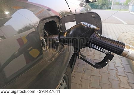 Car Refueling On A Petrol Station. Refill And Filling Oil Gas Fuel At Station.gas Station - Refuelin
