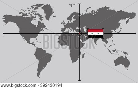 World Map With Coordinate Point Positioned By Crossed Lines On Country Syria