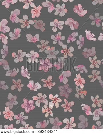 Blooming Cherry. Gray Blossom Wallpaper. Abstract Japanese Tree. Watercolor Romantic Texture. Pink B