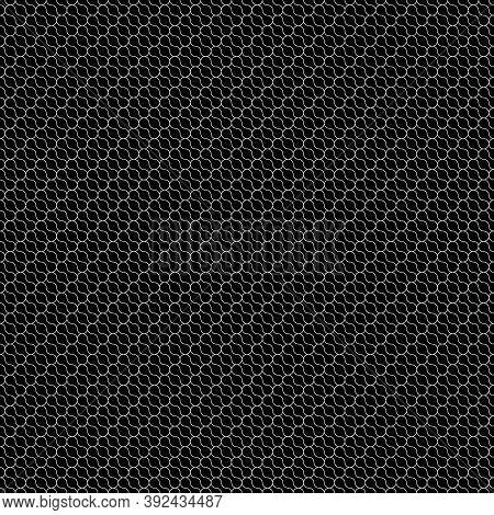 Repeated Interlocking Mini Black Figures Tessellation On White Background. Rounded Blocks Wallpaper.