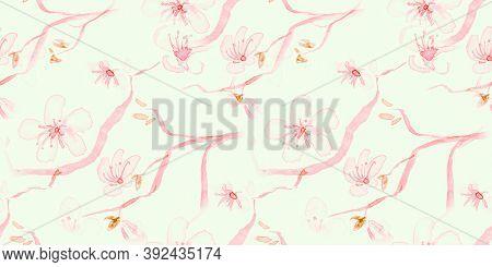 Watercolour Cherry Blossom. Seamless Sakura Ornament. Japan Tree Textile. White Oriental Cute Patter