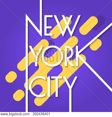 New York City Banner Isolated On The Abstract Background. Nyc Typography Design, Poster, Sport T-shi