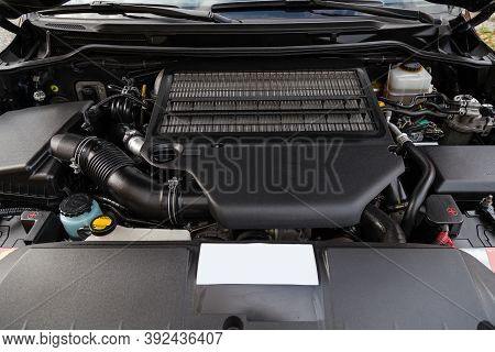 Front Engine Compartment Of An Old Japanese Car With Clean Components And Assemblies Plastic Housing