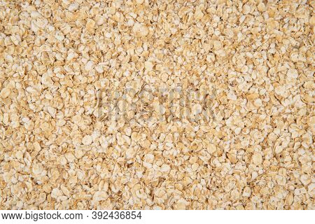 Oatmeal Texture - Top View And Close-up Of The Oatmeal Grains