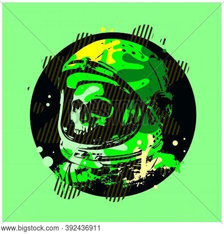 Human Skull Astronaut Helmet Sketch Engraving Vector Illustration. Scratch Board Style Imitation. Ha