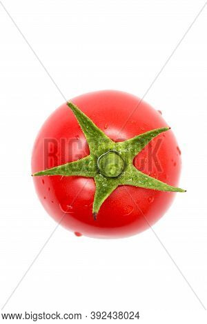 Fresh Tomato On White Background. Single Full Red Tomato Isolated On A White Background, Top View