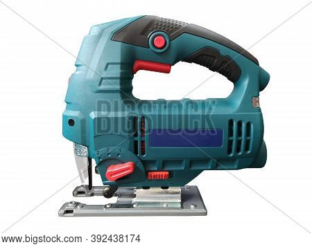 Electrical Jig Saw Isolated On A White Background. Professional Electric Jig Saw  Isolated On White