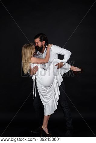 Couple Dancing Tango. Passion And Love Concept. Dancing, Salsa, Tangoing. Couple In Tender Passion