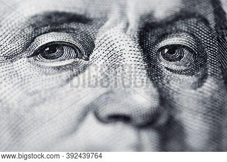 Benjamin Franklin's Look On A Hundred Dollar Bill. Benjamin Franklin Portrait Macro Usa Dollar Bankn