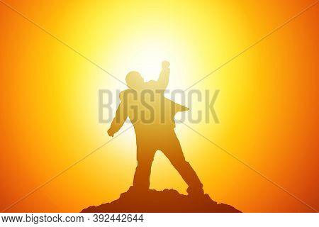 Silhouette Of Businessman Celebration Success Happiness On A Mountain Top. Business, Achievement, Su