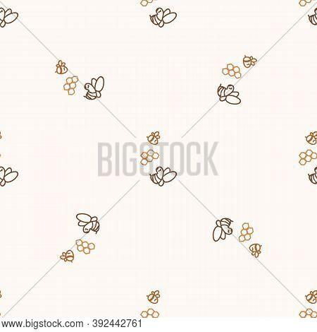 Seamless Background Honeybee Gender Neutral Pattern. Whimsical Minimal Earthy 2 Tone Color. Kids Nur