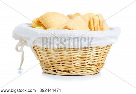 Basket With Homemade Cookies On White Background Isolation