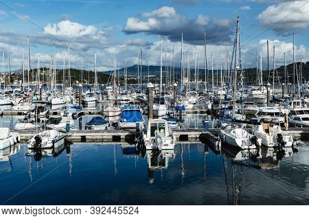 Combarro, Pontevedra - August 28, 2020: Small Sailing Boats Moored In The Yacht Club Of Combarro On