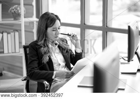 Thoughtful Concept. Serious Pensive Young Business Lady Is Thinking Which Decision To Make At Her Mo