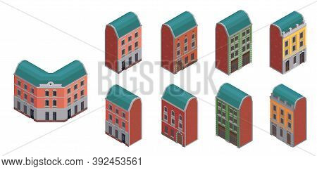 Set Of Isolated Suburban City Buidings Isometric Icons With Colourful Images Of Low Rise Apartment H