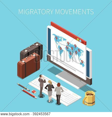Population Mobility Migration Displacement Isometric Composition With Text And Images Of Desktop Com