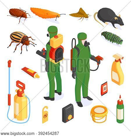 Isometric Pest Control Set With Isolated Icons Of Detergents And Chemicals With Insects And Protecte